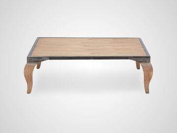 Столик кофейный «Клео» квадратный из натурального дерева и металла в стиле арт-деко