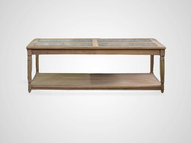 Стол кофейный «Артемис» из дерева и ротанга, со стеклом в стиле прованс