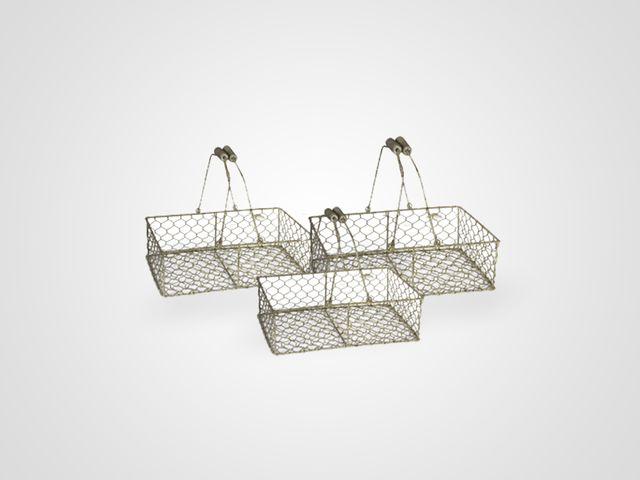 Корзина «Сетка» низкая 3 шт комплект из металла в стиле прованс