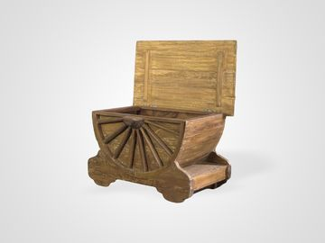 Стол-сундук кофейный ЭТНО из тика в винтажном стиле