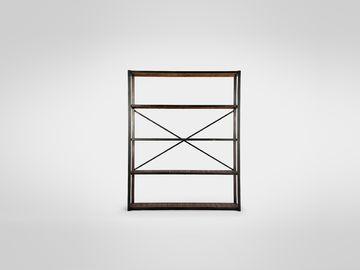 Этажерка из металла с деревянными полками разборная в стиле лофт