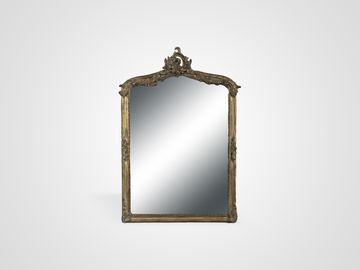 Зеркало в состаренной золотой раме из дерева в стиле арт-деко