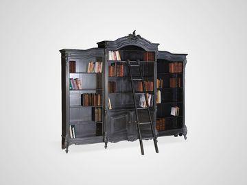 Библиотека из трех частей, черного цвета в классическом стиле