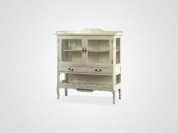 Шкаф-витрина ЛАНА в классическом стиле из массива эвкалипт в светлом цвете