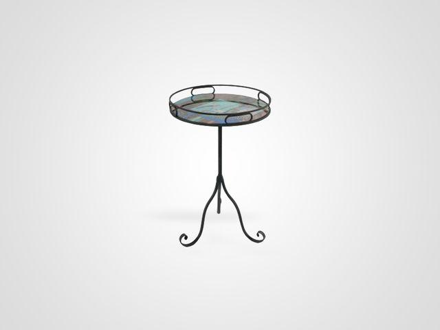 Приставной ламповый столик на металлической ножке в стиле фьюжн