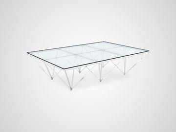 Стол кофейный металлический со стеклом Арт-Деко