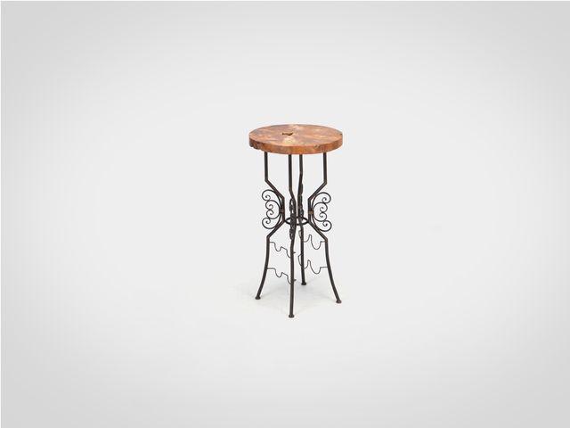 Столик барный из натурального дерева и металла в стиле лофт