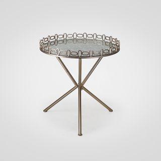 Столик круглый . столешница из зеркала, металлическая ножка , стиль арт-деко