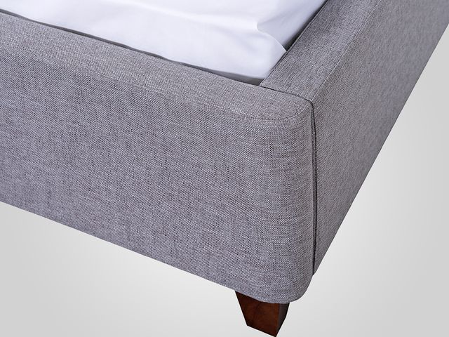 Кровать в сером цвете в классическом стиле с мягким изголовьем
