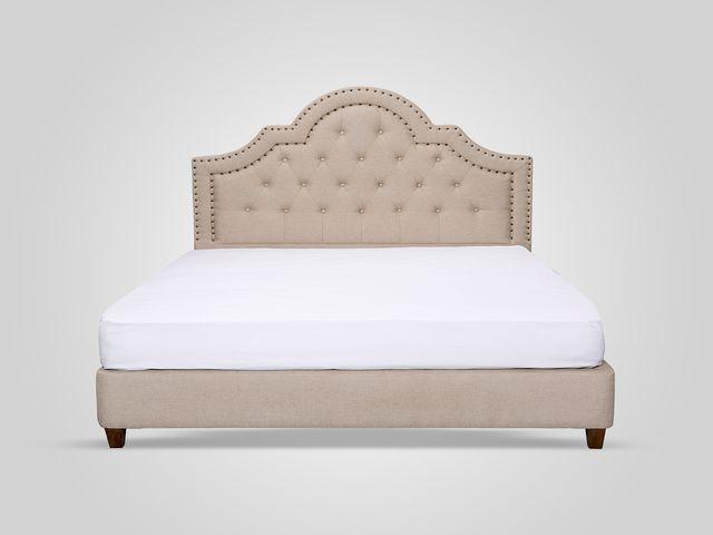 Кровать с мягким изголовьем в каретной стяжке классический стиль