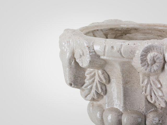 Ваза напольная с крышкой керамическая в стиле винтаж