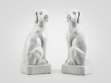 Держатели для книг «Собаки» белого цвета , в стиле арт-деко