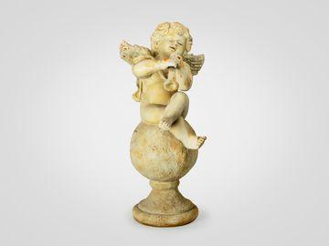Ангел с дудкой статуэтка напольная, в желтом цвете со старением