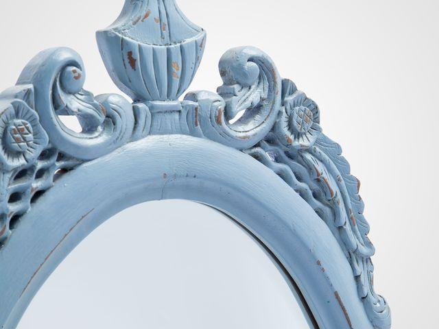 Зеркало настенное синего цвета английский стиль
