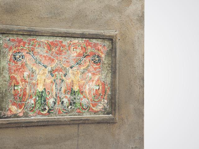 Зеркало из трех частей с рисунком и старением в стиле  винтаж