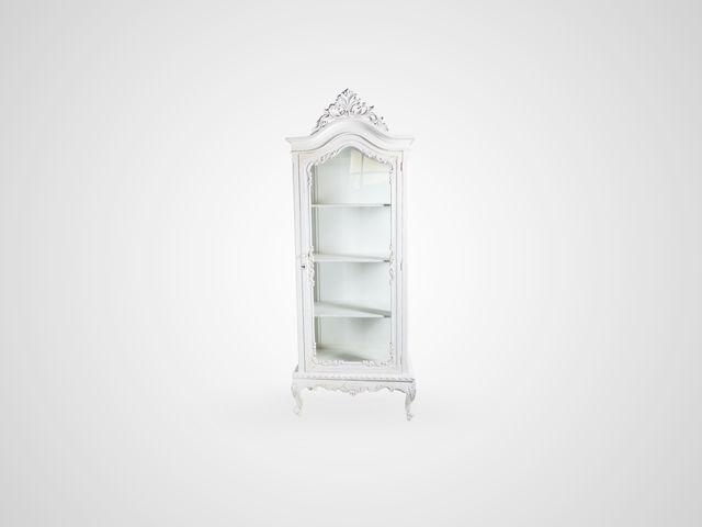 Витрина CHATEAU со стеклом в классическом стиле белого цвета с патиной