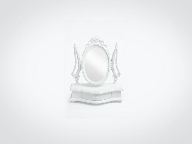 Зеркало настольное белого цвета в стиле прованс