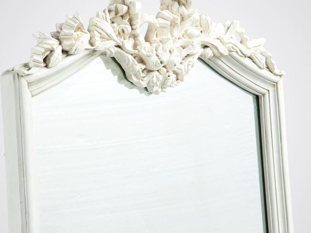 Зеркало напольное в стиле Прованс светло-голубого цвета