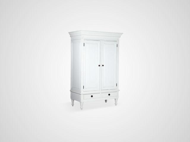 Шкаф платяной в скандинавском стиле из дерева махагони белого цвета