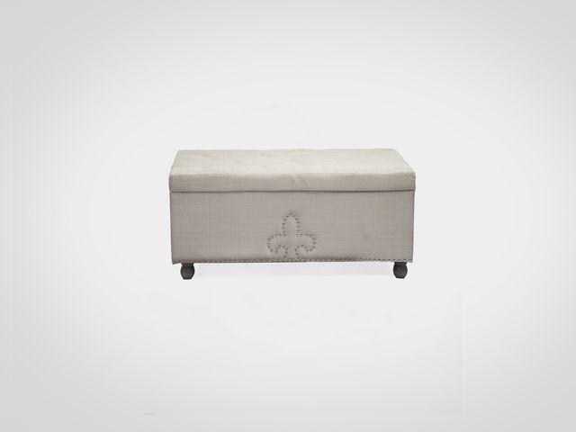 Банкетка прямоугольная ПАЛЕРМОв бежевой обивке, в классическом стиле