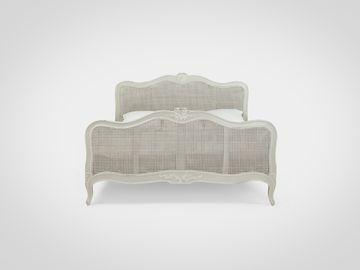 Кровать «Эдгар»  из натурального дерева с ротангом в сером цвете