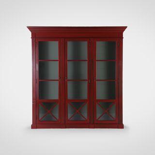 Библиотека  со стеклом Американский стиль красного цвета