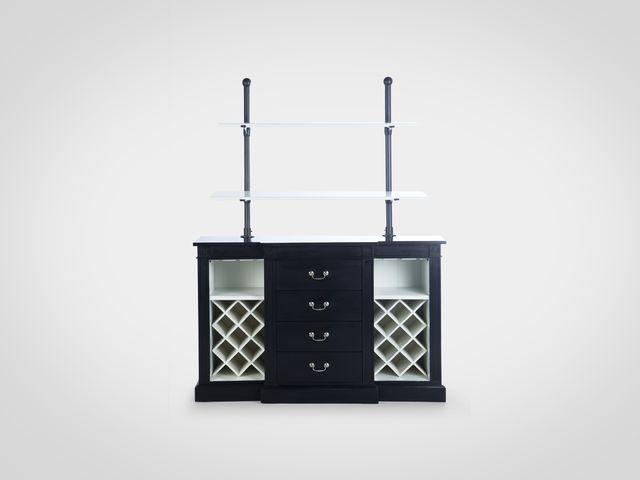 Винный шкаф в классическом стиле черно-белого цвета из натурального дерева
