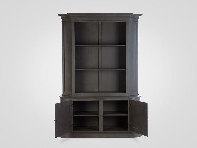 Библиотека из дерева в классическом стиле серого цвета