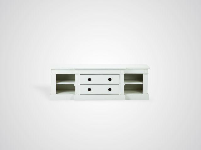 ТВ-тумба в скандинавском стиле белого цвета из массива дерева
