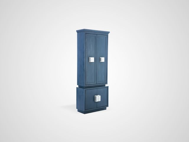 Шкаф с полками дизайнерский с стиле Арт-деко синего цвета