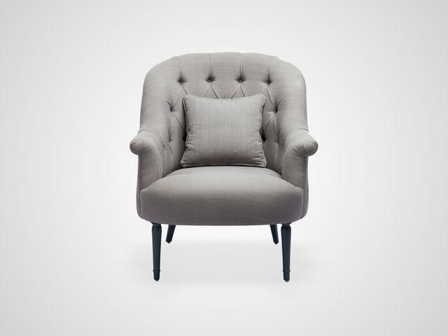Кресло «Орландо» в бежевой обивке , ножки в голубом цвете из дерева махагони