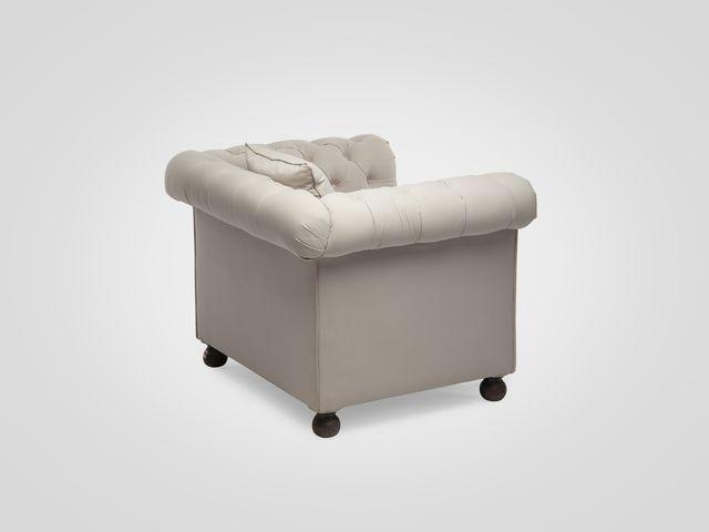 Кресло «Честерфилд» в классическом стиле, серая однотонная обивка