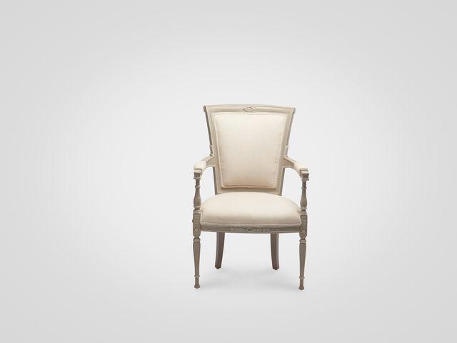 Кресло «Бруно» из натурального дерева в сером цвете стиль прованс