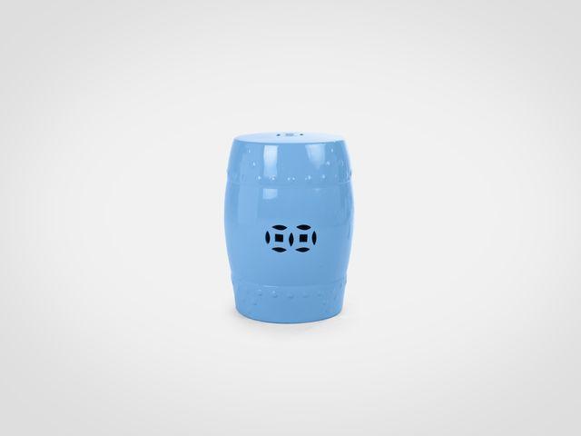 Керамический пуф в стиле арт-деко ярко-голубого цвета