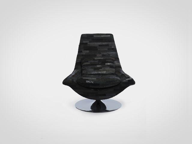Кресло (пэчворк из эко-кожи черного цвета в стиле арт-деко
