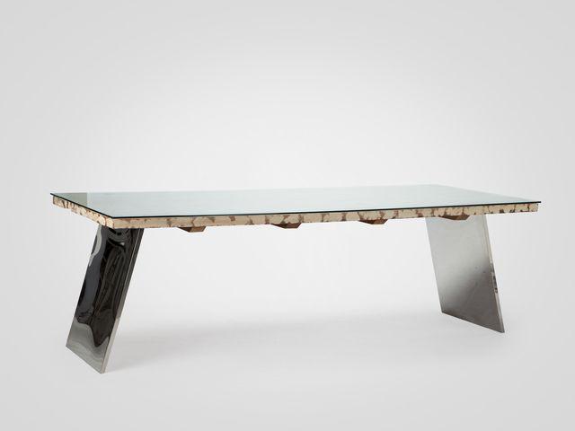 Стол из стали и тика прямоугольный со стеклом в стиле арт-деко
