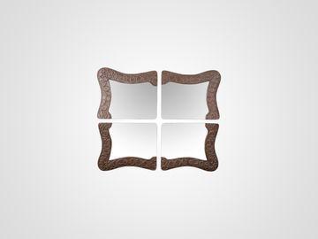 Зеркало из четырех частей в резной раме из натурального дерева в стиле арт-деко