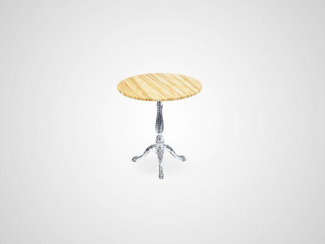 Ламповый столик на металлической ножке со столешницей из камня в классическом стиле
