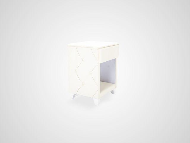 Тумба прикроватная (экокожа) в скандинавском стиле белого цвета