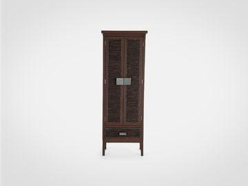 Шкаф с полками (экокожа)  в коричневом цвете стиль арт-деко