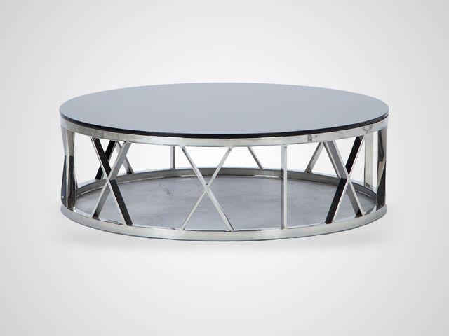 Стол кофейный круглый в стиле Арт-Деко на стальном основании